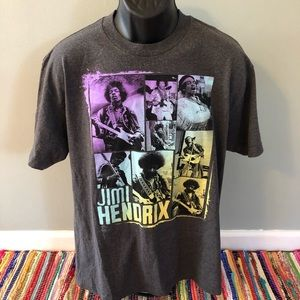 Jimi Hendrix Guitar Shirt Neon Graphic Gray Large